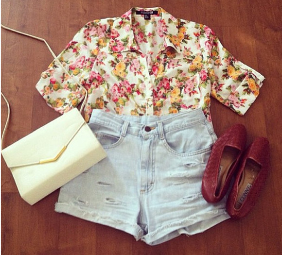 white bag shoes purse blouse floral flats high waisted short distressed shorts distressed denim shorts