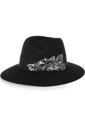 fedora floral black hat