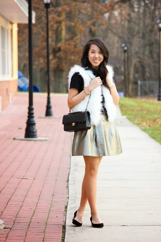 refined couture blogger metallic skater skirt faux fur vest jacket dress top skirt shoes bag metallic skirt