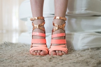 shoes neon pink beige sandall gold strappy sandals neon coral high heels classy elegant rose gold