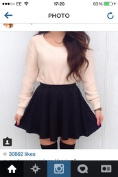 skirt,sweater,skater,blouse,peach,jumper,cropped sweater,pink,circle skirt,black skirt,black thigh high tights,skater skirt,knee high socks,thigh highs,top,peach fuzzy top