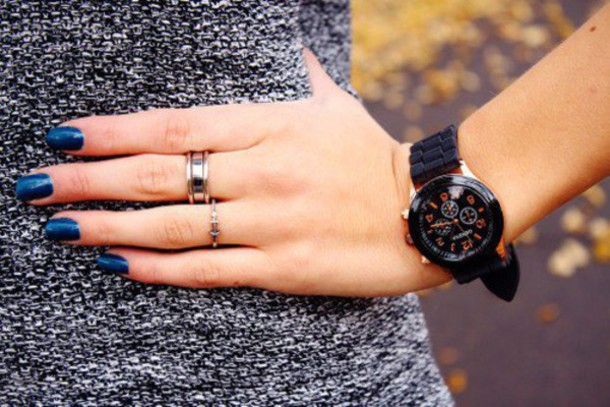 jewels watch necklace cute boho bohemian vogue nice trnady black watchy jellies gold outfit summer winter outfits autmn fall outfits girly genevav geneva black watch blue nail ring