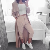 pants,pink,light pink,beige,white,pink pants,beige trousers,nude pants,high waisted pants,jacket,tan,nude,long,basic,beige coat,loose pants,coat
