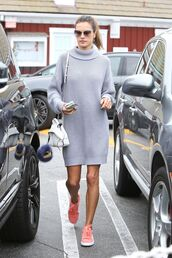 dress,grey,grey sweater,fall outfits,fall dress,fall sweater,turtleneck sweater,alessandra ambrosio,sneakers,streetstyle,model off-duty,sweater dress,oversized sweater,scarf