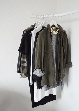 jacket chain jewels army green jacket t-shirt sweater green jacket coat shirt outfit