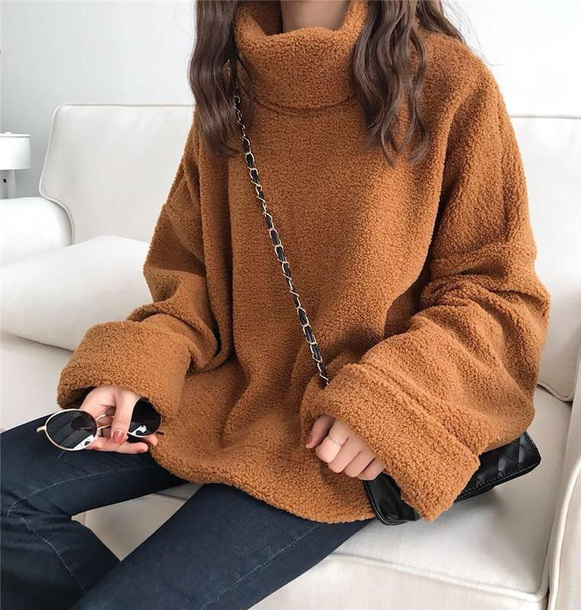 sweater girly turtleneck turtleneck sweater comfy fur tumblr