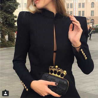 coat sexy black gold collar long coat gold buttons feminine sophisticated bag