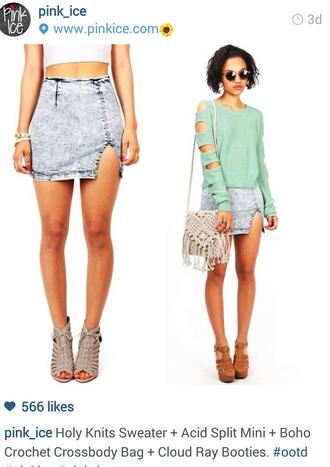 skirt acid wash knit sweaters crochet bags heels wedges suglasses bracelets bangle crop tops sweater