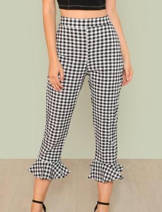 pants girly black and white black gingham high waisted ruffle