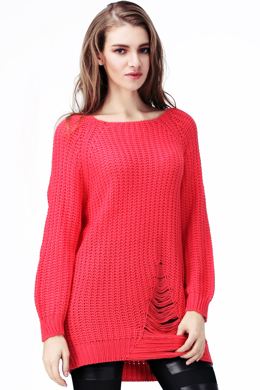 ROMWE   Loose Broken Holes Red Jumpers, The Latest Street Fashion