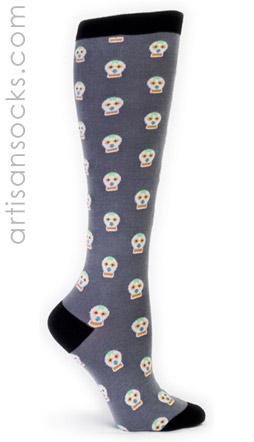 Sock it to me day of the dead knee high skull knee socks