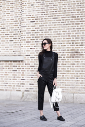 anouska proetta brandon,blogger,dungarees,black,preppy,hipster,backpack,jeans,black overalls,cropped,white backpack,office outfits,back to school,leather overalls,overalls,jumpsuit,mini backpack