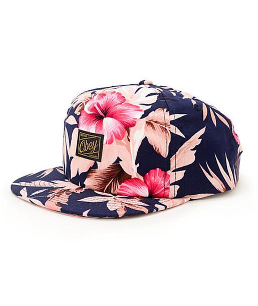 hat obey tropics floral snapback hawaiian floral hat floral snapback summer accessories