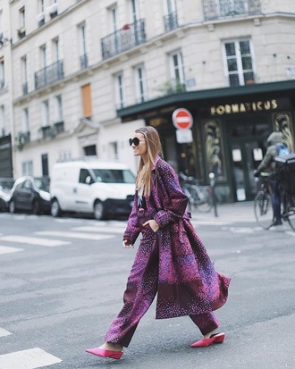 pants purple purple pants purple coat printed pants printed coat wide-leg pants matching set
