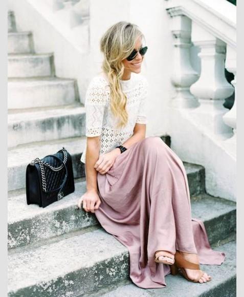 skirt maxi skirt long skirt and fashion t-shirt