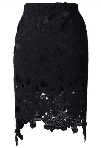 Hi-Lo Hem Flower Cut Out Pencil Skirt - Retro, Indie and Unique Fashion