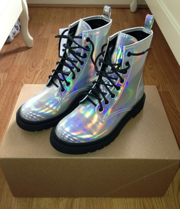 Spot On Boots Silver Hologram Boots Shoes