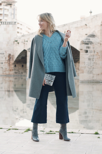 macarenagea blogger sweater jeans shoes bag jewels blue sweater boots grey coat winter outfits