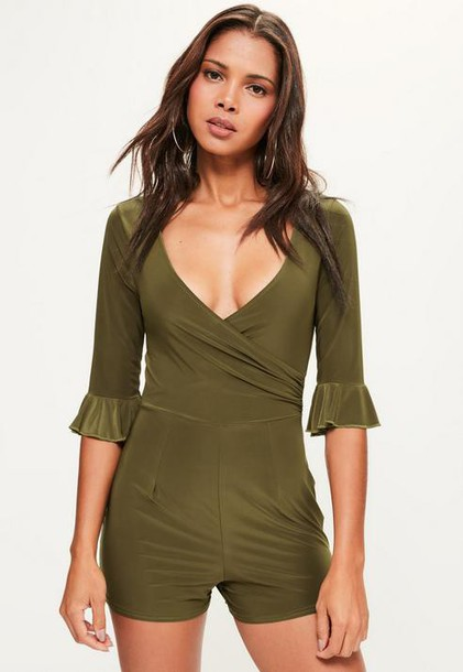 Missguided Khaki Slinky Frill Sleeve Wrap Playsuit