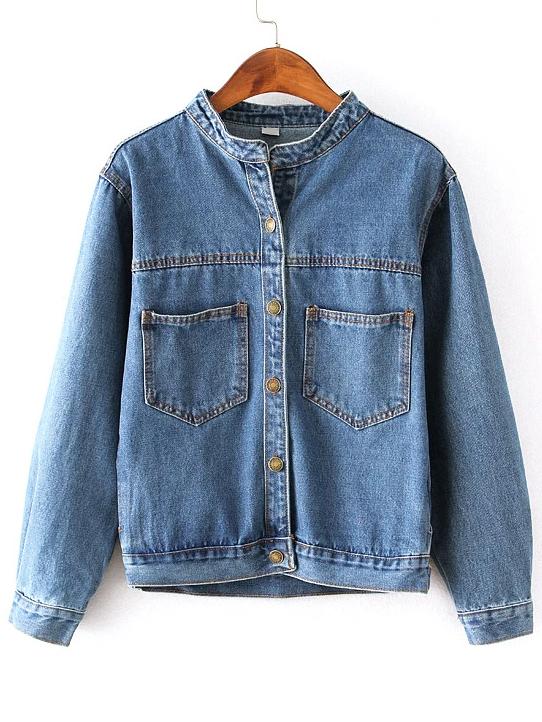 Stand Collar Denim Jacket With Pockets -SheIn(Sheinside)