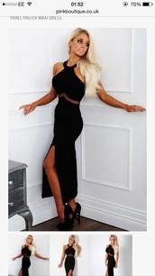 dress,maxi dress,halter neck,halterneck prom dress,black dress