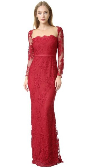 gown long lace red dress