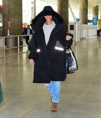 jacket winter outfits jeans streetstyle rihanna oversized