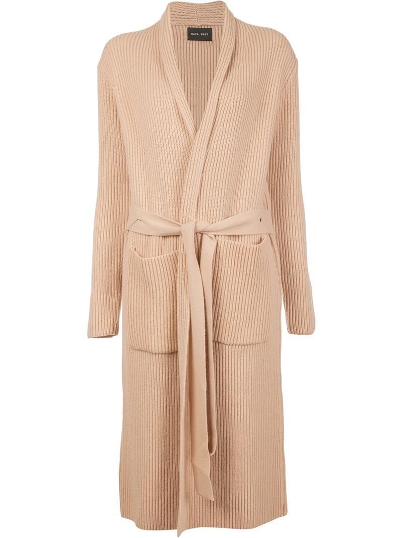 Baja East long robe-effect cardigan, Women's, Size: 0, Nude/Neutrals, Cashmere/Yak/Virgin Wool