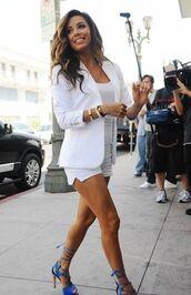 jacket,all white everything,white shorts,white top,blazer,white blazer,summer outfits,high heel sandals,sandals,blue sandals,bracelets,eva longoria,celebrity