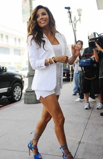 jacket all white everything white shorts white top blazer white blazer summer outfits high heel sandals sandals blue sandals bracelets eva longoria celebrity