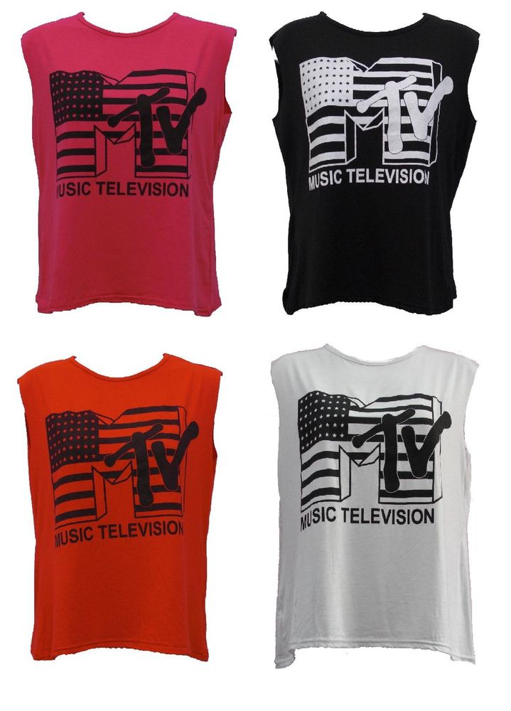 Ladies MTV Music Television Print Sleeveless Crop Top Women Cropped T Shirt 8 14 | eBay