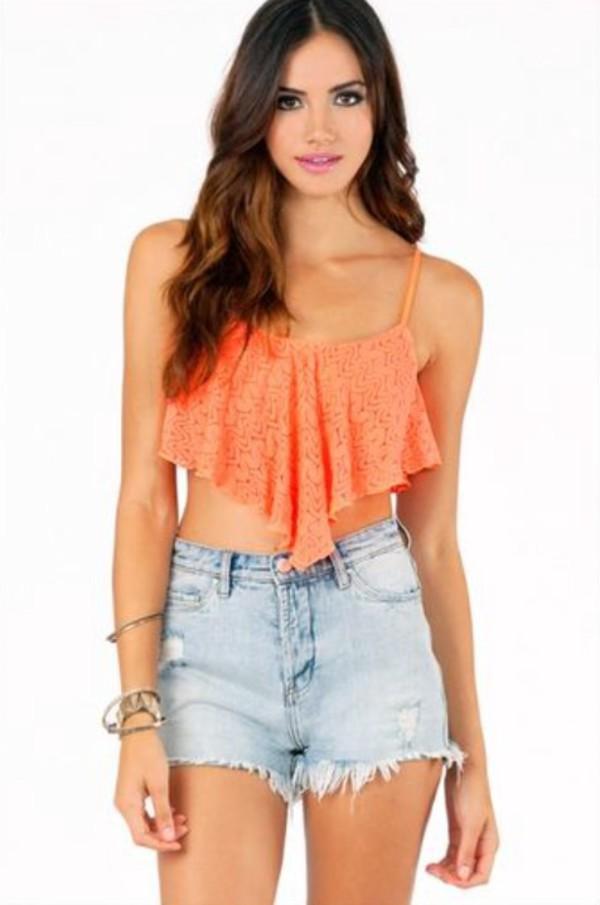 blouse crop tops orange ruffle top