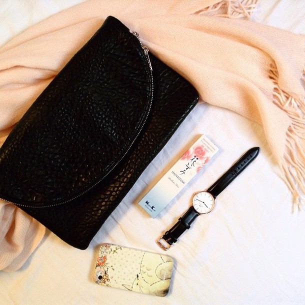 mes memos blogger scarf black watch pouch bag jewels