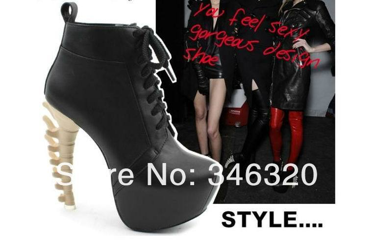 2013 Newest Design Women Sexy Lace up Bone Heel Black Ankle Boots Free Shipping on Aliexpress.com