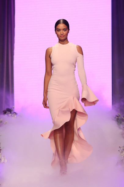 dress asymmetrical asymmetrical dress nude runway one shoulder shanina shaik david jones