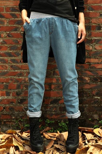 Elastic Waist Harem Jeans - OASAP.com