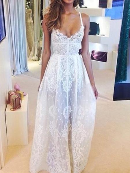 Necked white laced sheer spaghetti straps maxi dress