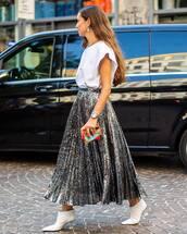 skirt,sequin skirt,midi skirt,pleated skirt,white boots,mid heel boots,white top,earrings