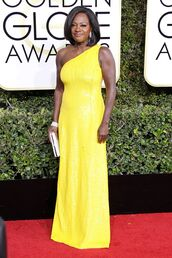 dress,one shoulder,yellow,yellow dress,viola davis,golden globes 2017,how to get away with murder,red carpet dress
