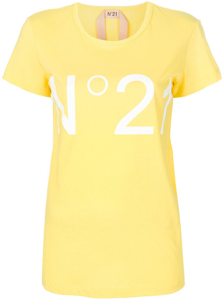 No21 t-shirt shirt t-shirt women cotton yellow orange top