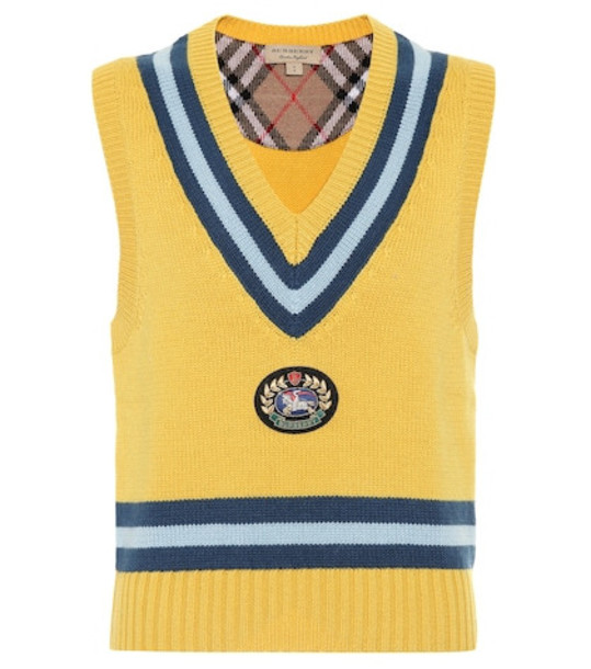Burberry Wool and cashmere vest in yellow