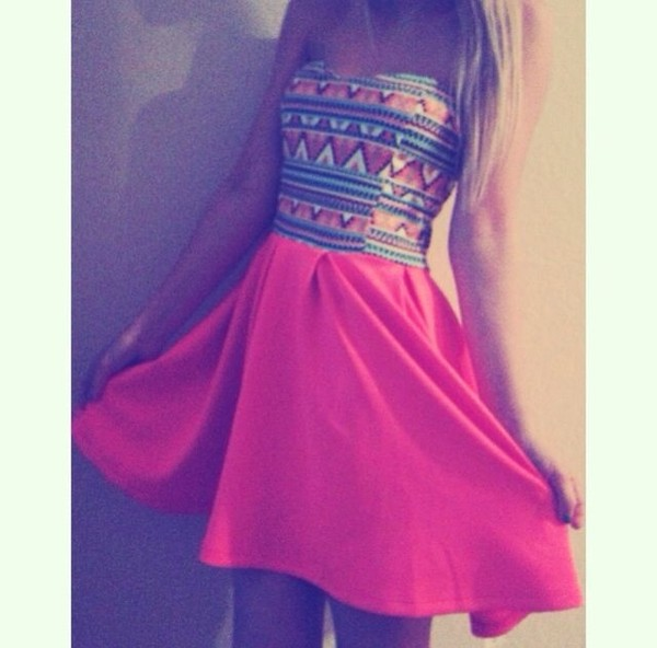 dress azetec aztec dress neon pink