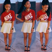 skirt,chained belt,chain belt,gold,gold belt,high waisted skirt,white skirt,shirt,skater skirt,white,flawless,nike,killem,dope,jewels,belt,shoes,blouse,top,t-shirt