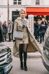coat,camel coat,long coat,boots,black boots,bag,trench coat,shorts,tights,crossbody bag,streetstyle