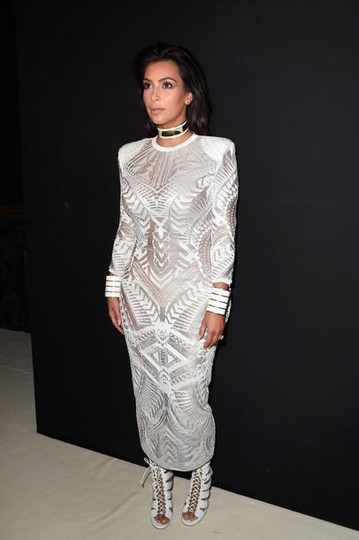 dress kim kardashian fashion week 2014 white white dress