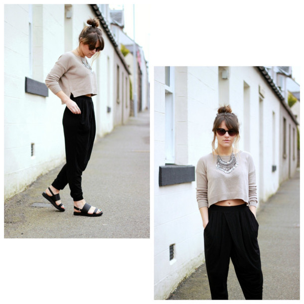 the little magpie pants sweater jewels shoes sunglasses