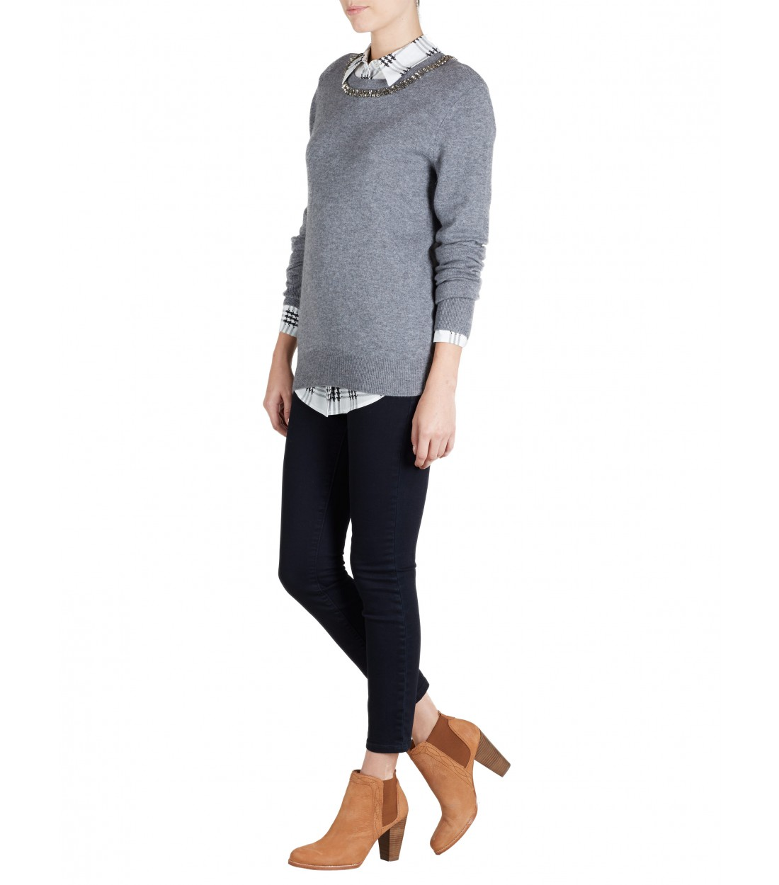 EQUIPMENT Shane Grey / Crystal Neckline | Cashmere Sweater