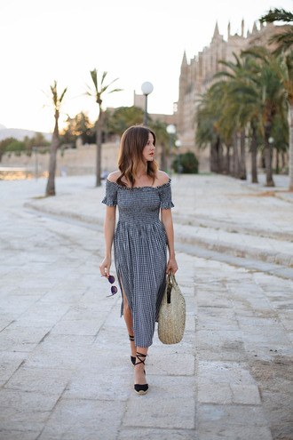 shoes tumblr vacation outfits midi dress dress gingham dresses gingham off the shoulder off the shoulder dress slit dress bag round tote wedge sandals wedges