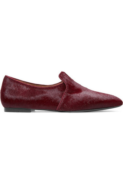 The Row - Alys Calf Hair Loafers - Burgundy