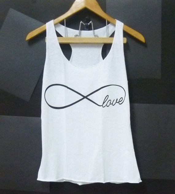 Infinity tank top love shirt cute tank top white by CuteClassic